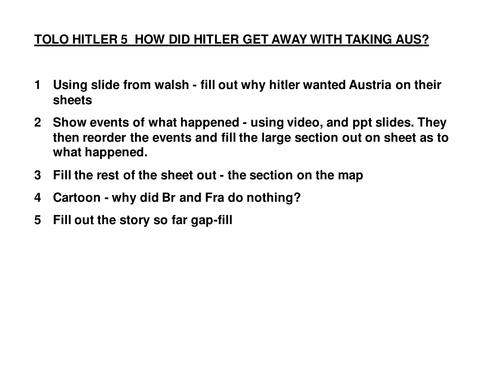 Hitler's foreign policy 1933-1939 for KS3 History - Lesson 3