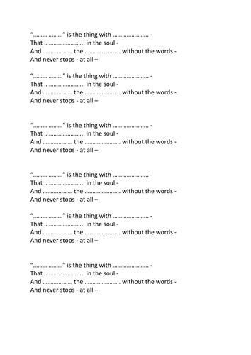 Imagery in poetry - Hope is the thing with feathers by Emily Dickinson