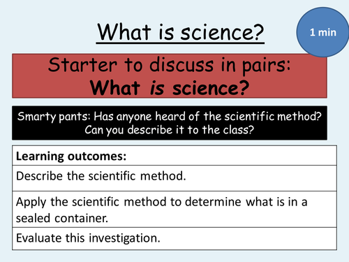The scientific method - introductory lesson for KS3