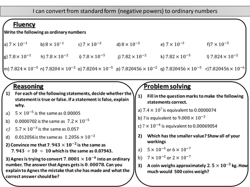 Converting From Standard Form Negative Powers To Ordinary Numbers