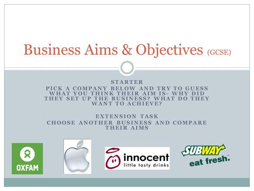 Business Aims/Objectives GCSE AQA