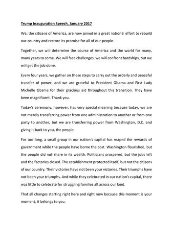 Reading Paper skills: Trumps Inauguration Speech GCSE 1-9 AQA