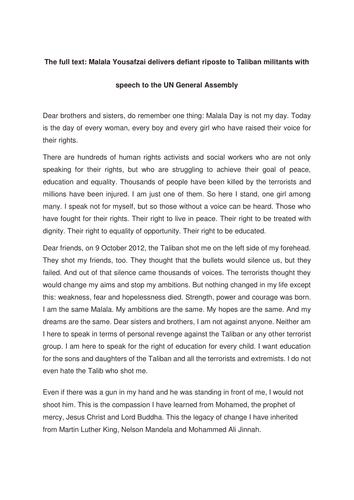 GCSE 1-9 Reading skills; analysing speeches using Malala UN speech
