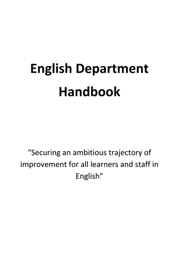 English Faculty Handbook- easy to adapt- Used for Ofsted visits