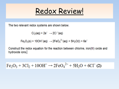 New AQA A Level Chemistry - Redox and Introduction to Electrochemical Cells