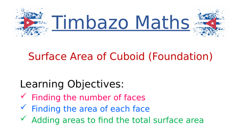 Surface Area of Cuboids (Foundation)