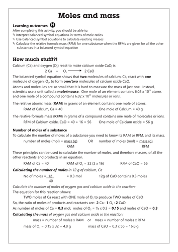 C4.1 Moles and Mass worksheet GCSE AQA Unit C4 Chemical calculations