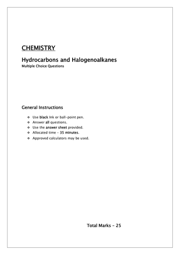 Organic Chemistry/ MCQ Hydrocarbons and Halogenoalkanes