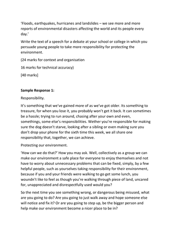Business Ethics Essays Aqa English Language Paper  Section B Example Essay Responses  Spec By  Mgroverresources  Teaching Resources  Tes Topics For An Essay Paper also Example Of Essay With Thesis Statement Aqa English Language Paper  Section B Example Essay Responses   Essay Proposal Examples