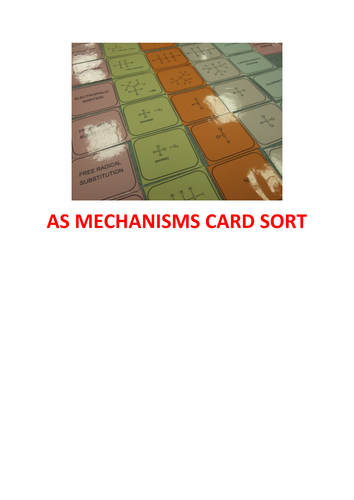 AS Chemistry Organic Mechanisms Card Sort - Learning Puzzle -with answers