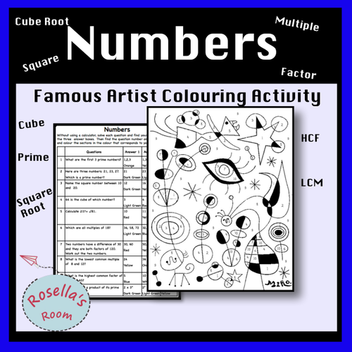 Factors, Multiples, Prime, Cube and Square Numbers - Colour by Number Activity