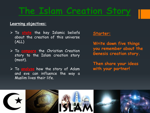 Genesis creation story and Islamic views on creation - Two Full lessons