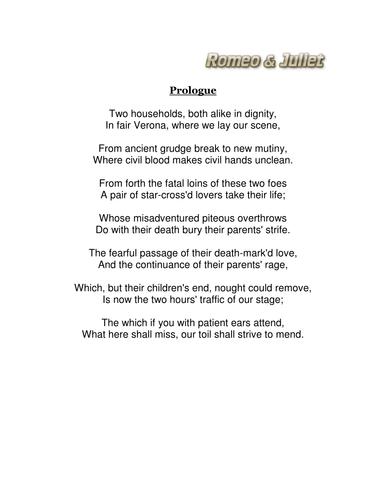 Romeo and Juliet GCSE 1-9 Prologue revision