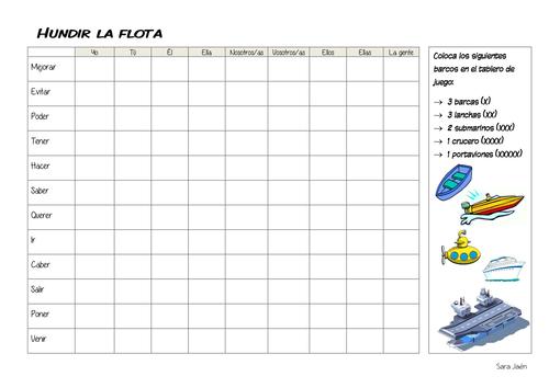 Spanish Future or Conditional tense game - Hundir la Flota