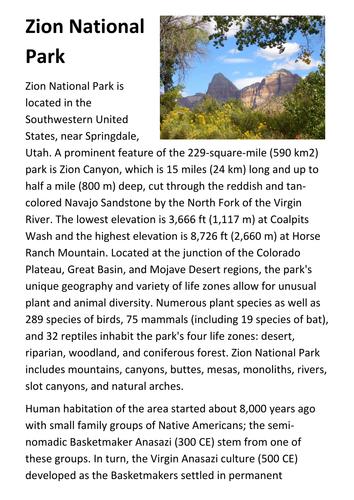 Zion National Park Handout