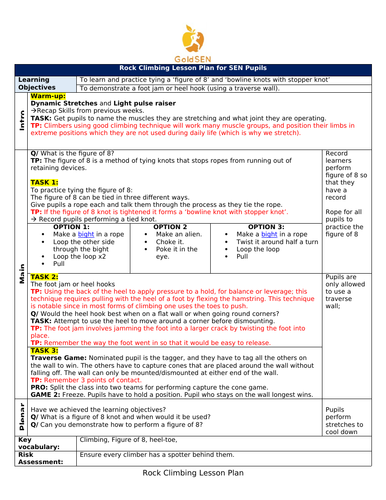 Rock Climbing Lesson Plan