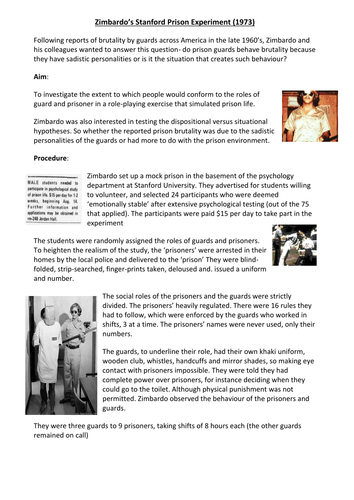 Zimbardo- Conformity to Social Roles (Social Influence)