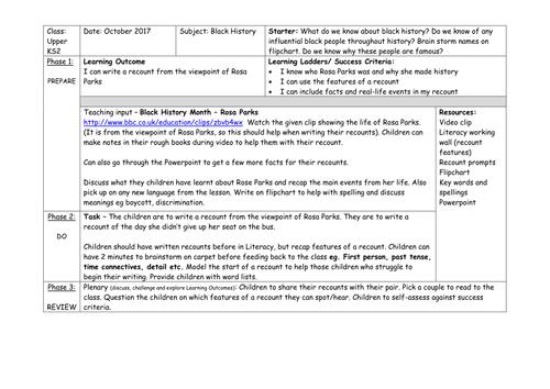 Black History: Rosa Parks Recount Lesson (KS2)