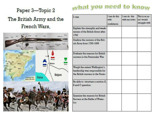 Edexcel British Experience of Warfare Topic 2 The British Army and the French Wars 1793-1815