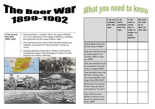 Edexcel British Experience of Warfare Topic 4 The Boer War 1899-1902