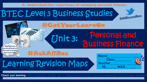 BTEC L3 Business Studies: Unit 3 - Section A Learning Maps!