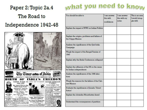 Edexcel Britain and India Topic 2a.4 The Road to  Independence 1942-48