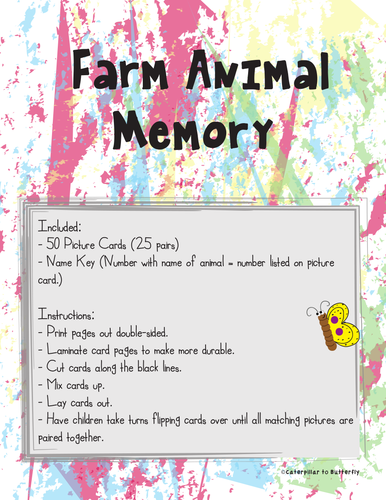 Farm Animal Picture Memory