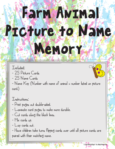 Farm Animal Picture and Name Memory