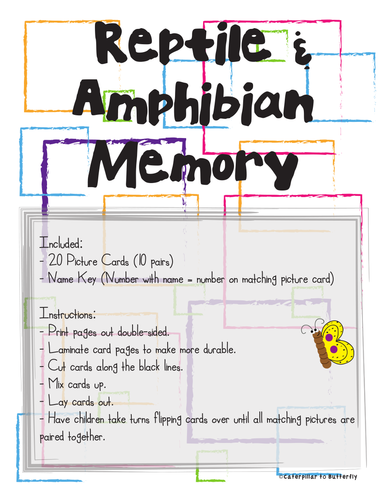 Reptile and Amphibian Picture Memory