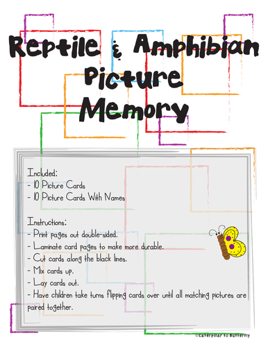 Reptile and Amphibian Memory (Match Picture to Picture with Name)