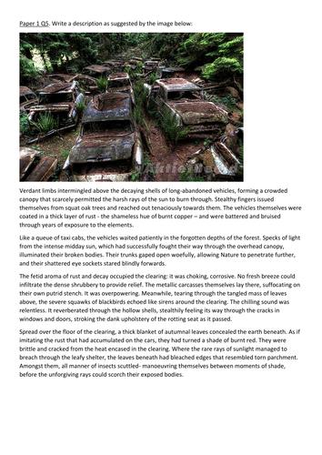AQA Paper 1 Q5 exemplar descriptive writing response to image (grade 8/9)