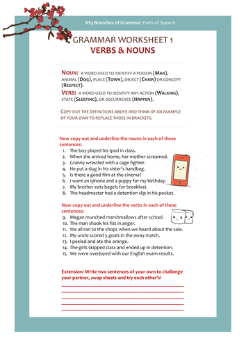 Grammar Worksheet 1 : Nouns & Verbs by jigglemama | Teaching Resources