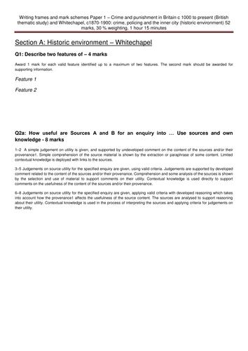 Writing frames Paper 1 GCSE History Edexcel Crime and punishment, Whitechapel
