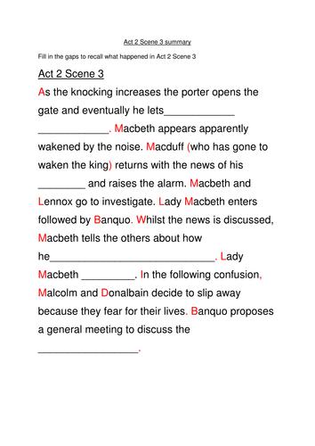 Macbeth Act 2 Scene 3 plot summary cloze exercise