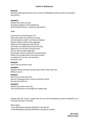 AQA English Literature (GCSE) Macbeth Practice Exam Material