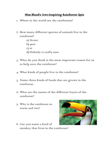 Rainforest quiz by lily_the_pink | Teaching Resources