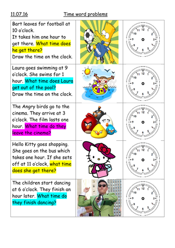 time word problems year 1 by cassie7191 teaching resources. Black Bedroom Furniture Sets. Home Design Ideas
