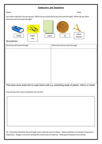 Adding Three Addends Worksheet Pdf Electricity Worksheets Elementary Science Teaching Resources  Tes Singular Possessive Worksheet Pdf with The Crucible Worksheets Answers Word Conductors And Insulators Investigation Math Worksheets For 6 Graders Excel