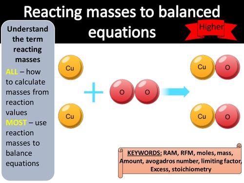 GCSE AQA Trilogy Chemistry - reacting masses to balanced equations