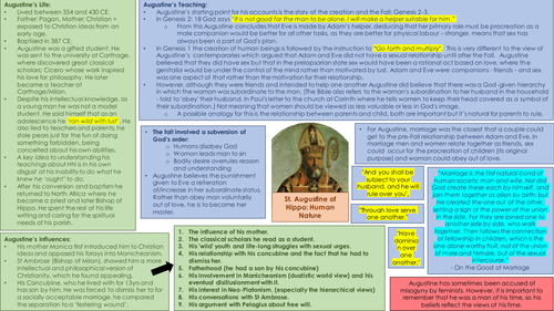 OCR A Level Theology: Developments in Christian Thoughts - AUGUSTINE Summary Sheets!