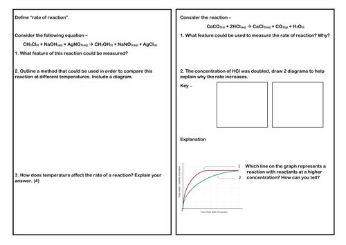 Rates of reaction summary worksheet AQA Trilogy Chemistry