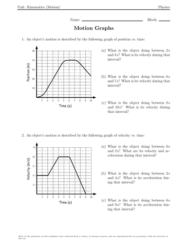 Motion Graphs Worksheets By Will2share Kam Teaching