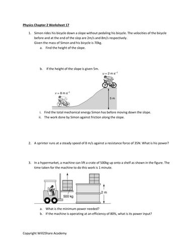 Power and Energy Worksheet