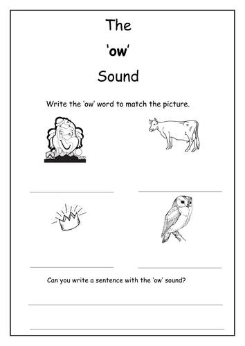 Phonics Ow Sound Worksheet By Laurenstuart Teaching