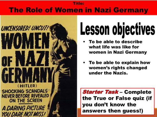 The Role of Nazi Women in Germany - Outstanding Lesson