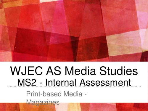 WJEC AS MS2 Media Studies Coursework exemplars
