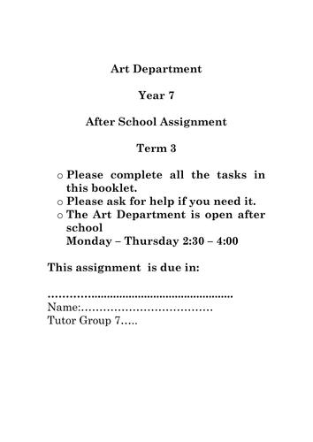 Year 7 Art Homework Assignment 3