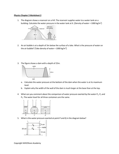 Density And Pressure Worksheet With Answers By Kunletosin246