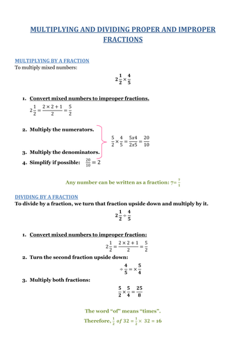 MULTIPLYING AND DIVIDING PROPER AND IMPROPER FRACTIONS. With Answers.