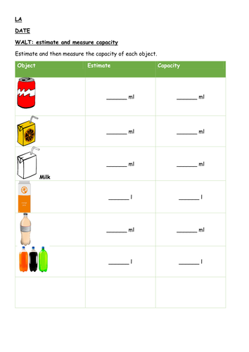 Estimate and measure capacity - Year 2/3/4 maths - Differentiated 3 ways - Plan and resources